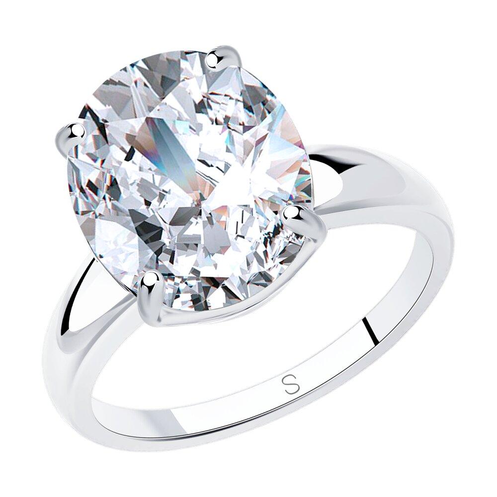 Помолвочное кольцо SOKOLOV из серебра с фианитом фото