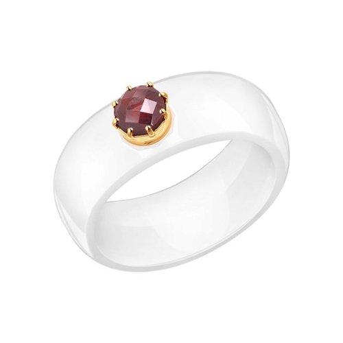 Керамическое кольцо с золотом и гранатом