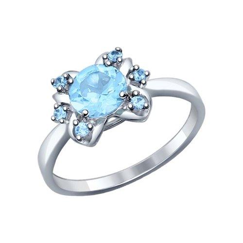 Кольцо из серебра с голубым топазом и голубыми фианитами