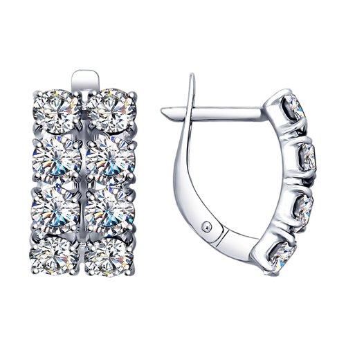 Серьги из серебра с фианитами (94022545) - фото