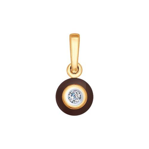 Подвеска из золота с бриллиантом и керамикой (6035024) - фото