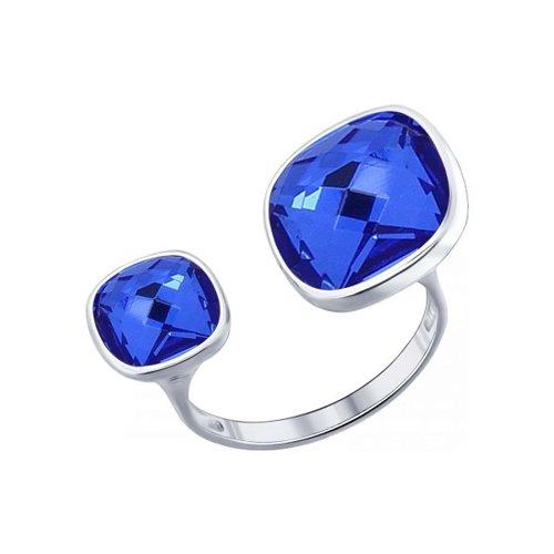 Кольцо из серебра с синими кристаллами Swarovski