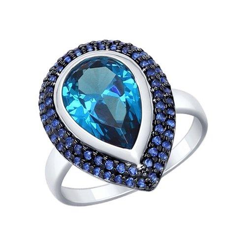 Кольцо из серебра с синим ситаллом и синими фианитами (92011328) - фото