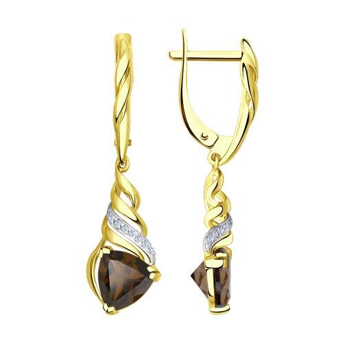 Серьги из желтого золота с раухтопазами и фианитами (724982-2) - фото