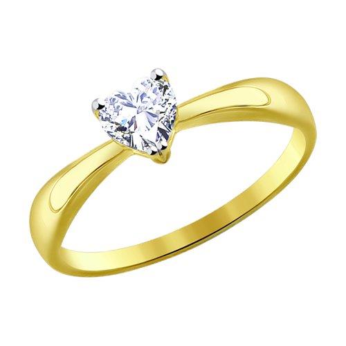 Кольцо из желтого золота с фианитом (016949-2) - фото