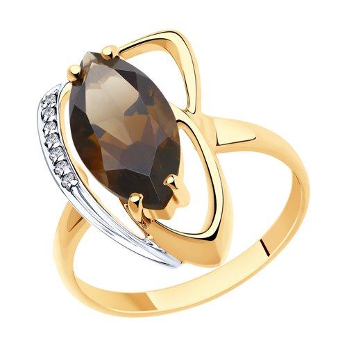 Кольцо из золота с раухтопазом и фианитами (715971) - фото