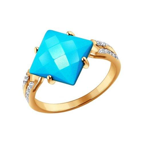 Кольцо из золота с бирюзой и фианитами