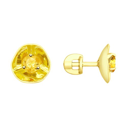 Серьги из желтого золота с цитринами (8-720027) - фото