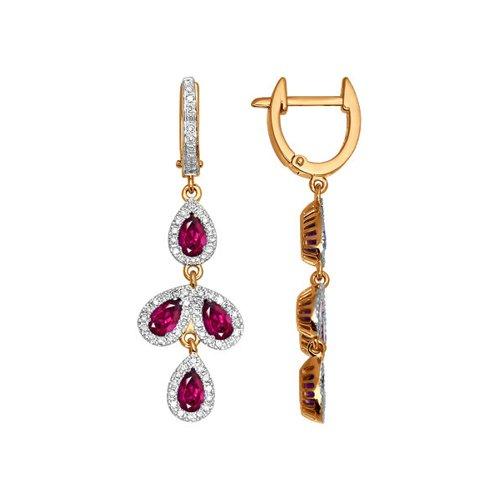Серьги длинные из золота с бриллиантами и рубинами