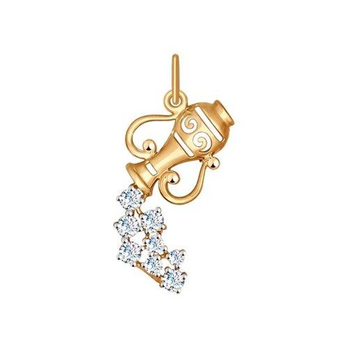 Золотая подвеска «Знак зодиака Водолей» SOKOLOV