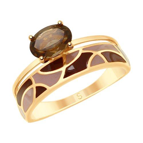 Кольцо из золочёного серебра с эмалью и раухтопазом
