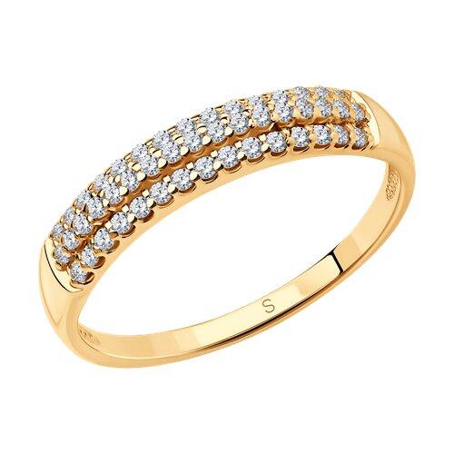 Кольцо из золочёного серебра с фианитами (93010524) - фото