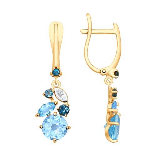 Серьги из золота с голубыми и синими топазами и фианитами (725391) - фото