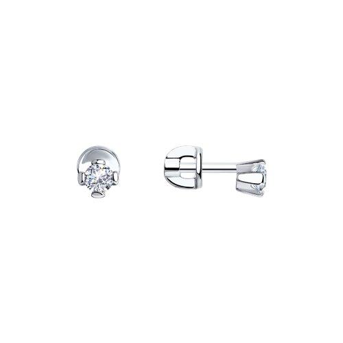 Серьги-пусеты из серебра с фианитами (94020122) - фото
