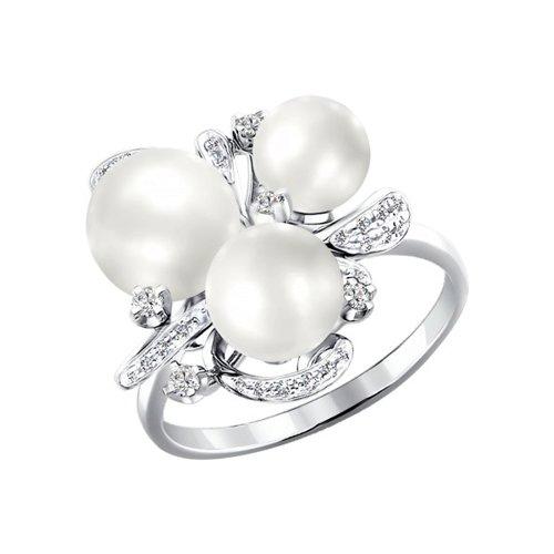 Кольцо SOKOLOV из белого золота с бриллиантами и жемчугом
