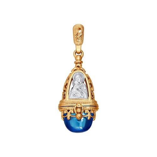 Подвеска из комбинированного золота с голубым фианитом