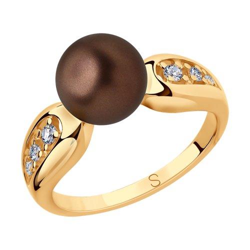 Кольцо из золочёного серебра с коричневым жемчугом Swarovski и фианитами (93010778) - фото