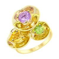 Кольцо из желтого золота с полудрагоценными вставками