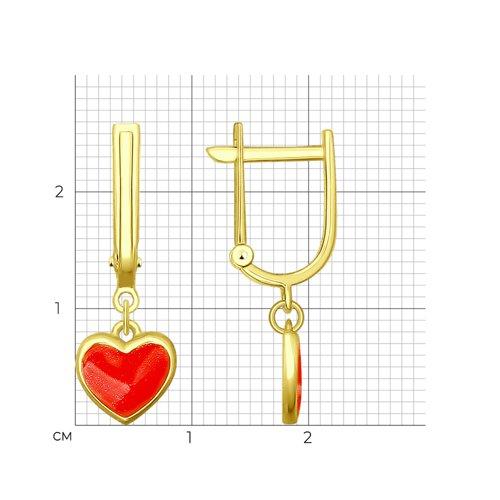 Серьги из желтого золота с эмалью (027614-2) - фото №2