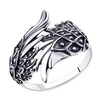 Кольцо из чернёного серебра с чёрными фианитами