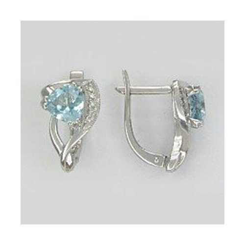 Серьги SOKOLOV из белого золота с бриллиантами и топазами кольцо с топазами и бриллиантами из белого золота