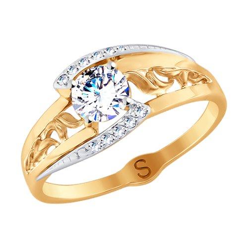 Кольцо из золота с фианитами (017892) - фото