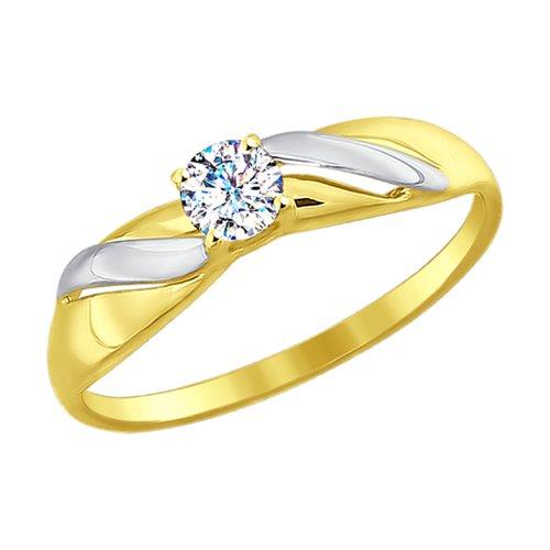 Кольцо из желтого золота со Swarovski Zirconia (81010312) - фото