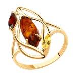 Кольцо из золота с гранатом, цитрином и янтарём