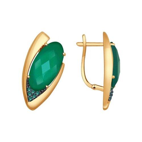 Серьги из золота с агатами и зелеными фианитами