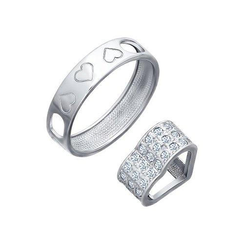 Кольцо SOKOLOV из серебра с фианитами жен стразы комплект ювелирных изделий набор украшений браслет цельное кольцо серьги гвоздики искусственный жемчуг белый