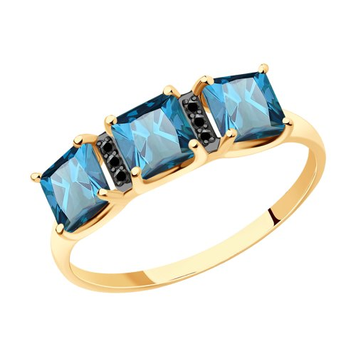 Кольцо из золота с синими топазами и фианитами (715023) - фото