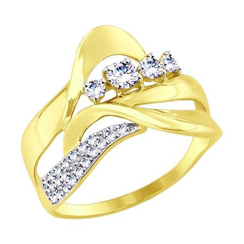 Кольцо из желтого золота с фианитами (017510-2) - фото