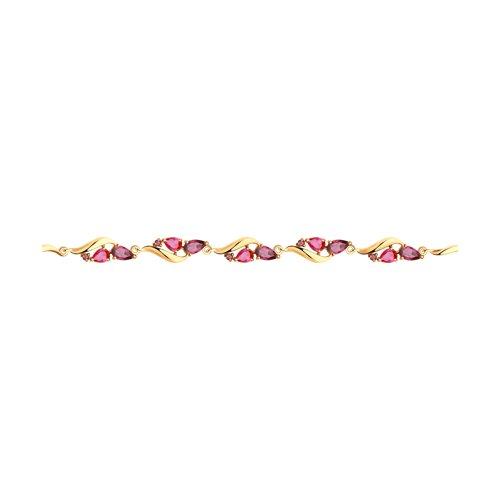 Браслет из золота с родолитами и красными корунд (синт.)