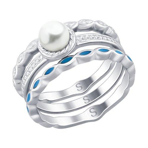 Кольцо из серебра с эмалью и жемчугом (94012525) - фото