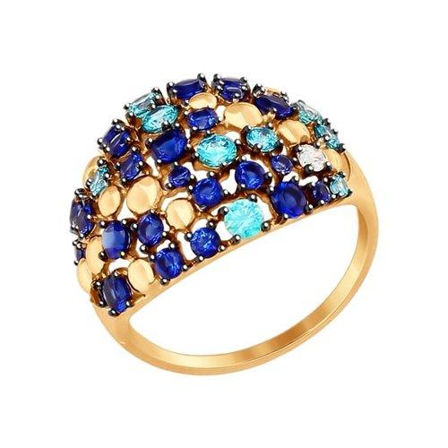 Кольцо из золота с бесцветным, зелеными и синими фианитами