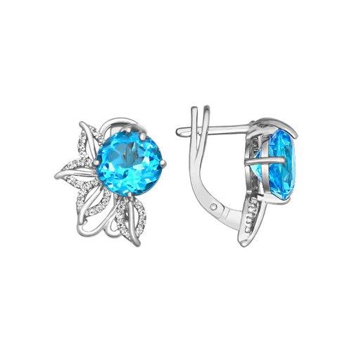 Вечерние серьги с голубым камнем SOKOLOV