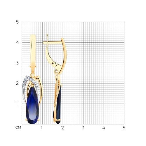 Серьги из золота с корундами и фианитами 727153 SOKOLOV фото 2