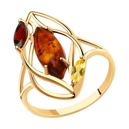Кольцо из золота с гранатом, цитрином и янтарём (715928) - фото