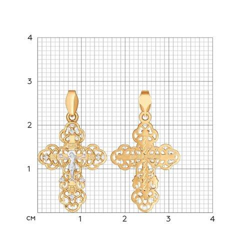 Крест из золота с фианитами (121288) - фото №2
