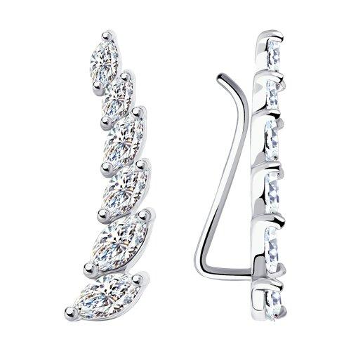 Серьги из серебра с фианитами (94021890) - фото