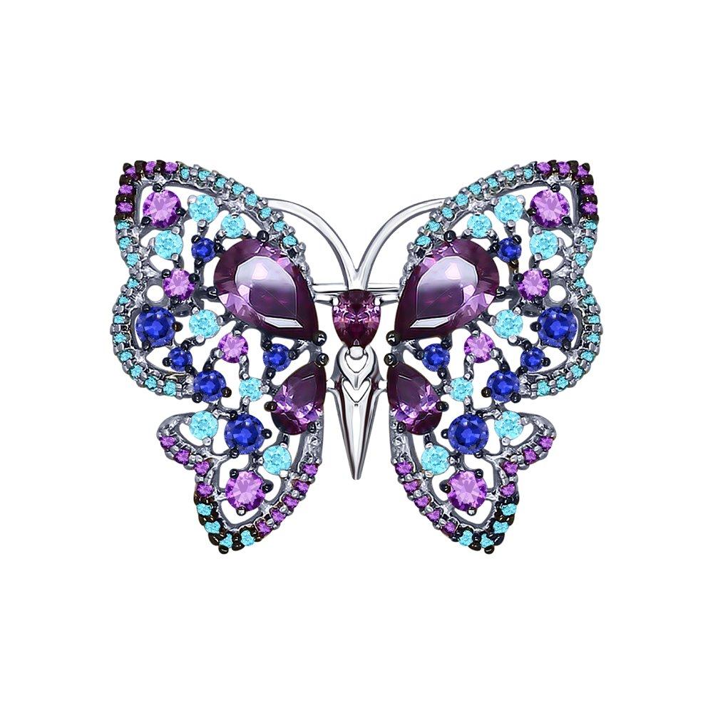 Брошь «Бабочка» с фианитами SOKOLOV