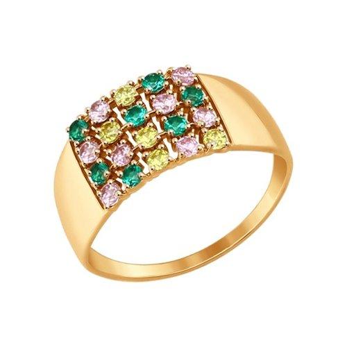 Кольцо из золота с жёлтыми, зелеными и розовыми фианитами