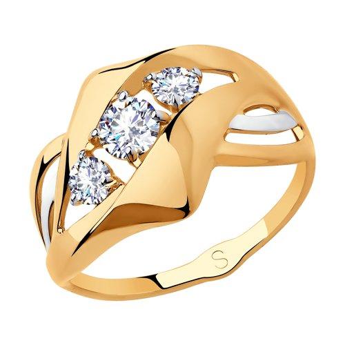 Кольцо из золота с фианитами (018228) - фото