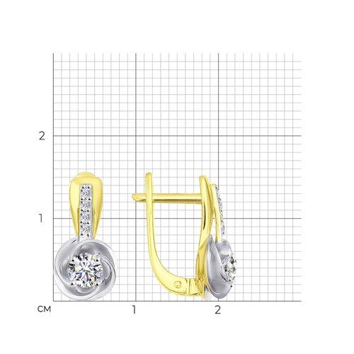 Серьги из желтого золота с фианитами 026885-2 SOKOLOV фото 2