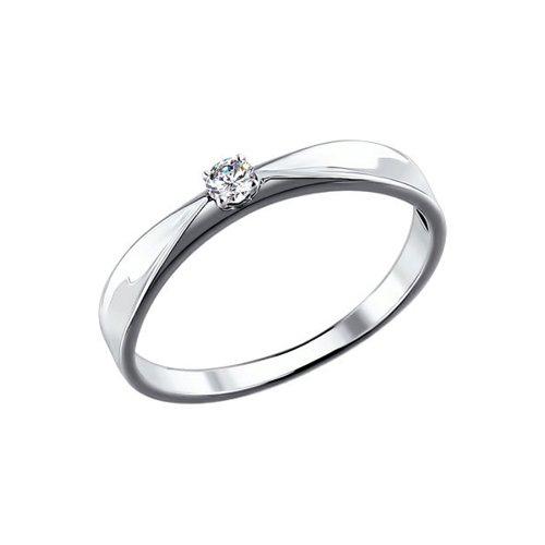 Помолвочное кольцо из белого золота с бриллиантом (1110101) - фото