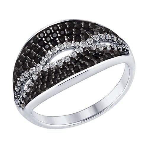 Кольцо из серебра с бесцветными и чёрными фианитами (94012357) - фото