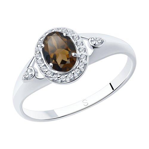 Кольцо из серебра с раухтопазом и фианитами (92011548) - фото
