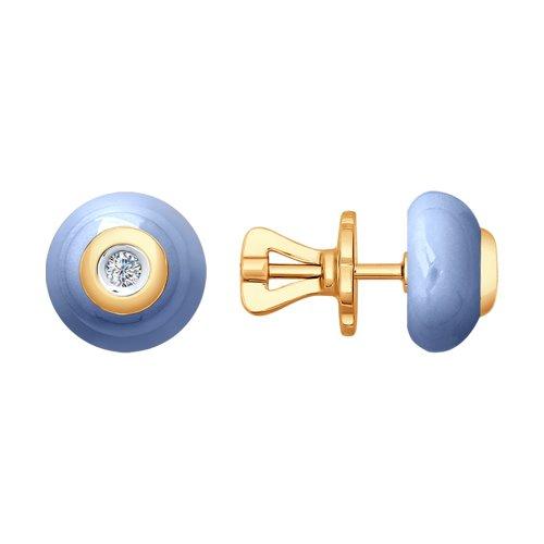 Серьги из золота с бриллиантами и голубой керамикой (6025040) - фото