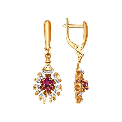 Длинные золотые серьги с бриллиантами и рубинами SOKOLOV