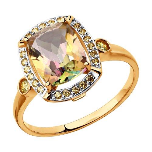 Кольцо из золота с розовыми топазами Swarovski и жёлтыми Swarovski Zirconia (714984) - фото